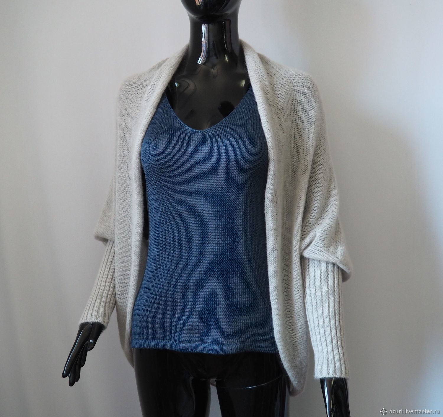 Cape cardigan with cuffs made of kid mohair (fog, light gray), Cardigans, Cheboksary,  Фото №1