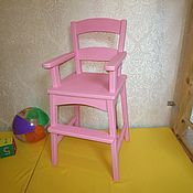 Стулья ручной работы. Ярмарка Мастеров - ручная работа Высокий детский стул с подлокотниками (розовый). Handmade.