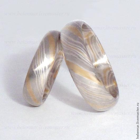 """Свадебные украшения ручной работы. Ярмарка Мастеров - ручная работа. Купить Обручальные кольца в стиле Мокуме Гане """"Серые"""". Handmade."""