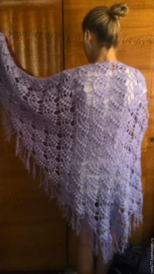 Шали, палантины ручной работы. Ярмарка Мастеров - ручная работа. Купить шаль. Handmade. Шаль ажурная, голубой