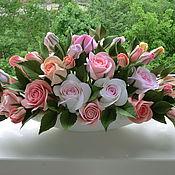 Цветы и флористика ручной работы. Ярмарка Мастеров - ручная работа Розы в низкой вазе. Handmade.