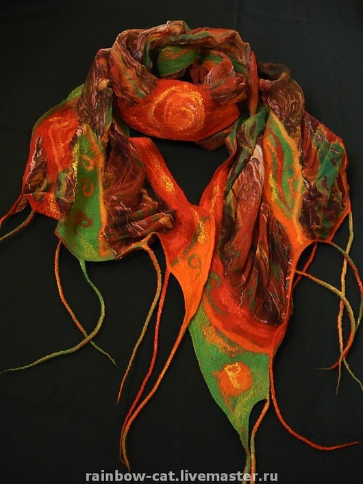 Scarves handmade. Livemaster - handmade. Buy Scarf 'Emine-Bair-Hosar'.The nuno, red, wool merino