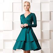 Одежда ручной работы. Ярмарка Мастеров - ручная работа Платье в миди длине, на запахе , с уникальной юбкой. Handmade.