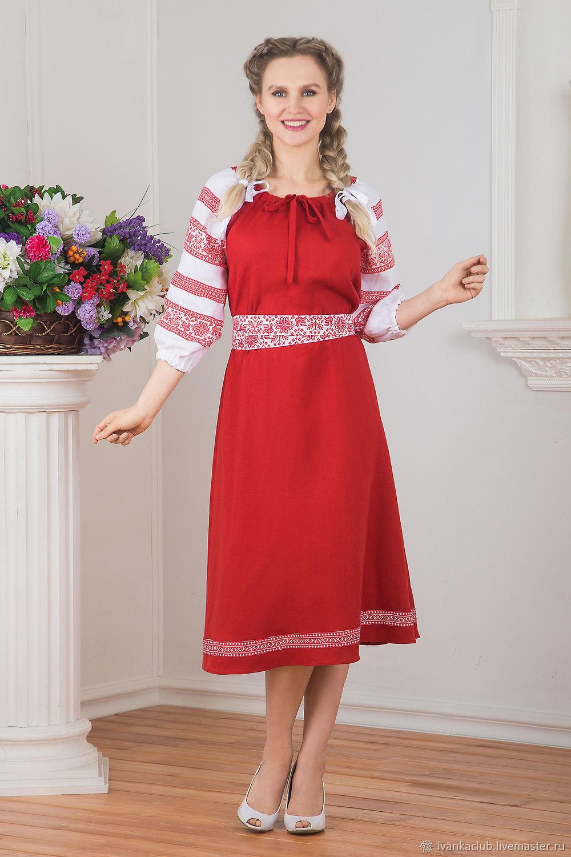 Dress linen Russian folk viburnum red, Folk dresses, Omsk,  Фото №1