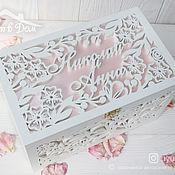 Свадебный салон handmade. Livemaster - original item Wooden wedding chest with names (Tea rose). Handmade.