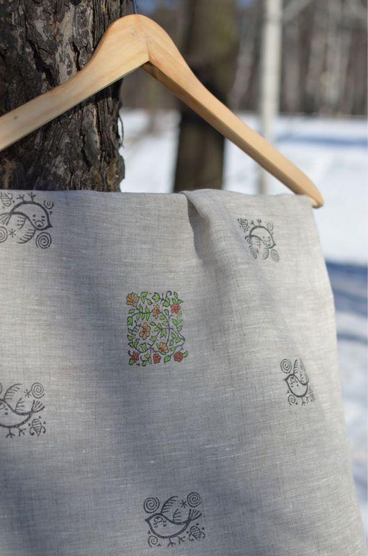 Кухня ручной работы. Ярмарка Мастеров - ручная работа. Купить Льняное полотенце* птичьи трели *. Handmade. Полотенце