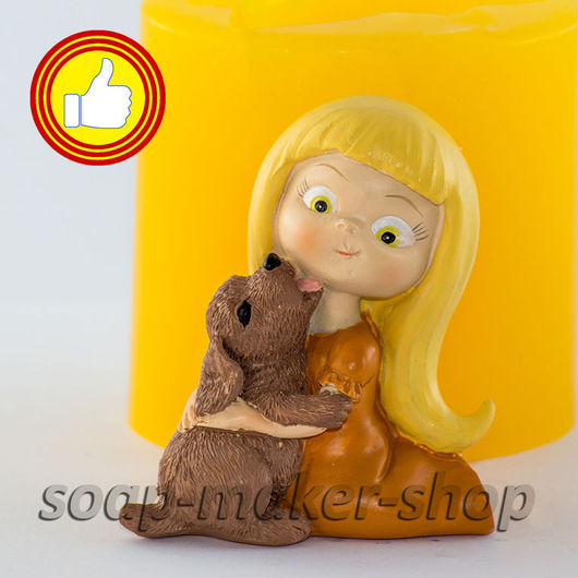 Материалы для косметики ручной работы. Ярмарка Мастеров - ручная работа. Купить Силиконовая форма для мыла «Девочка с щенком 3D». Handmade.