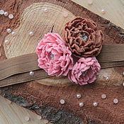 Работы для детей, ручной работы. Ярмарка Мастеров - ручная работа Повязка для волос, шоколадно-бледно розовая. Handmade.