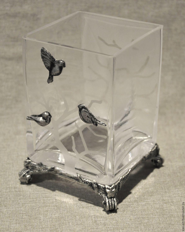 """Прозрачная ваза  """"Зимний пейзаж"""""""