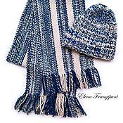 Аксессуары ручной работы. Ярмарка Мастеров - ручная работа Комплект шапочка и домотканый шарф из пряжи ручного прядения. Handmade.