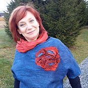 Одежда ручной работы. Ярмарка Мастеров - ручная работа Красный цветок. Handmade.