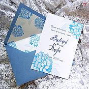 Свадебный салон ручной работы. Ярмарка Мастеров - ручная работа Акварельные приглашения на свадьбу Гортензия в конверте. Handmade.