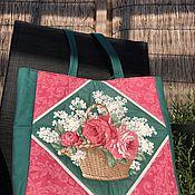 "Винтаж handmade. Livemaster - original item Сумка летняя ""Букет из сирени и роз"", Голландия. Handmade."