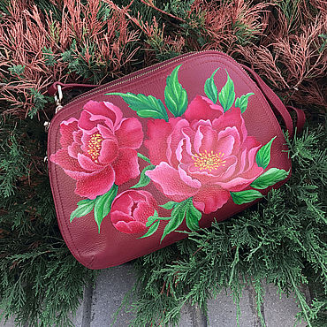 Bags and accessories handmade. Livemaster - original item Women`s leather bag with author`s hand painted Pink Peonies. Handmade.