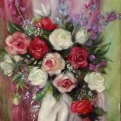 """Картины и панно ручной работы. Ярмарка Мастеров - ручная работа Картина шерстью """"Букет роз"""". Handmade."""