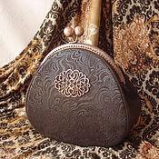 Сумки и аксессуары handmade. Livemaster - original item Leather handbag with clasp Chocolate truffle. Handmade.
