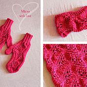 Аксессуары handmade. Livemaster - original item Set knitted Malinki, scarf - snud, bandage and mittens.. Handmade.