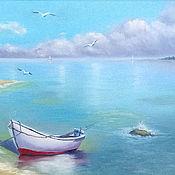 """Картины и панно ручной работы. Ярмарка Мастеров - ручная работа Картина маслом морской пейзаж """"Спокойствие"""". Handmade."""