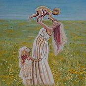"""Картины и панно ручной работы. Ярмарка Мастеров - ручная работа Картина маслом """"Счастье"""". картина. картина семья. картина женщина. Handmade."""