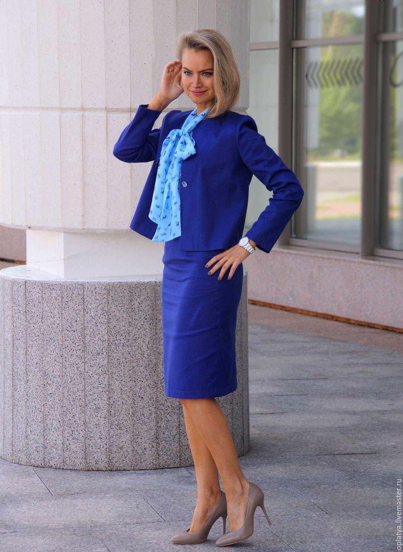 Жаккардовая синяя юбка
