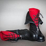 Обувь ручной работы. Ярмарка Мастеров - ручная работа Ботинки женские зимние красный черный. Handmade.