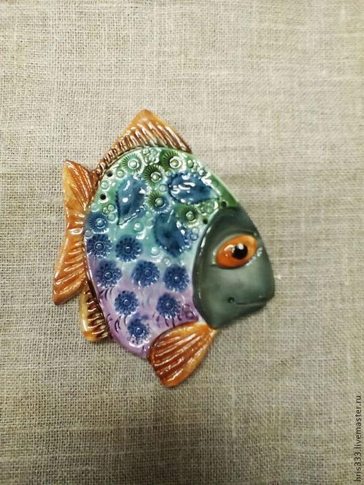 Декор поверхностей ручной работы. Ярмарка Мастеров - ручная работа. Купить Рыба панно  5,2. Handmade. Бирюзовый, синий