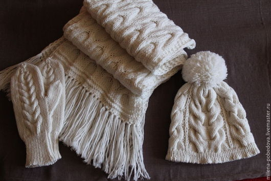 Комплекты аксессуаров ручной работы. Ярмарка Мастеров - ручная работа. Купить Вязаный комплект Белый Ирис, вязаные шапка, шарф, варежки.. Handmade.