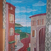 Картины и панно ручной работы. Ярмарка Мастеров - ручная работа Дома у моря. Handmade.
