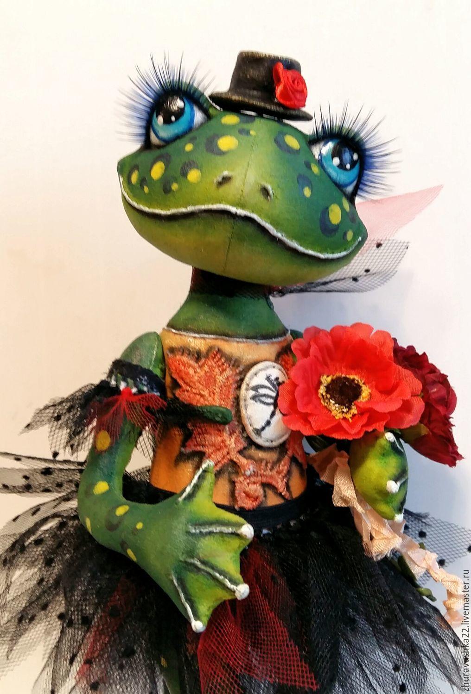 Frog green. textile doll, Dolls, Pskov,  Фото №1