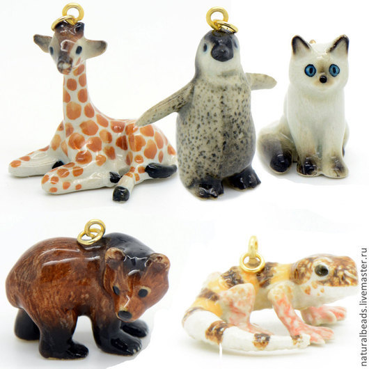 Для украшений ручной работы. Ярмарка Мастеров - ручная работа. Купить Жираф, медведь, котенок и другие подвеска фарфор. Handmade.