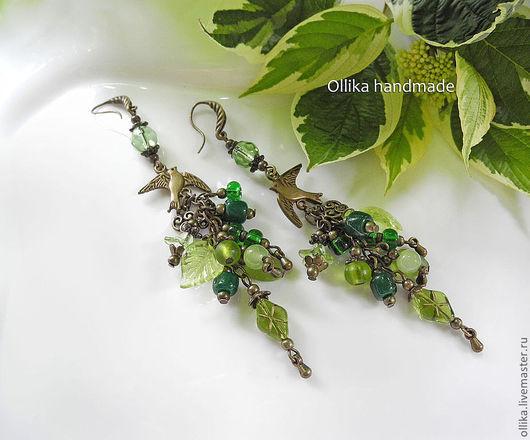 Серьги Птички певчие  серьги серьги длинные, длинные серьги, длинные сережки, зеленые серьги, стильные серьги, оригинальные серьги, серьги фото, стильное украшение, купить серьги в питере, серьги и к