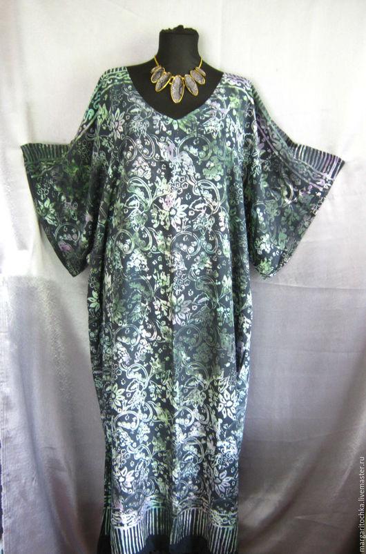 Большие размеры ручной работы. Ярмарка Мастеров - ручная работа. Купить Свободное платье для отдыха. Handmade. Зеленый