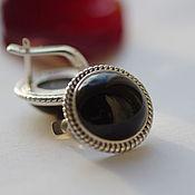 Украшения handmade. Livemaster - original item Earrings with black agate