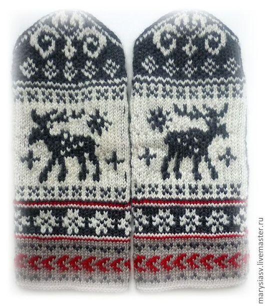 """Варежки, митенки, перчатки ручной работы. Ярмарка Мастеров - ручная работа. Купить Варежки """"Норвежский олень"""".. Handmade. Орнамент"""