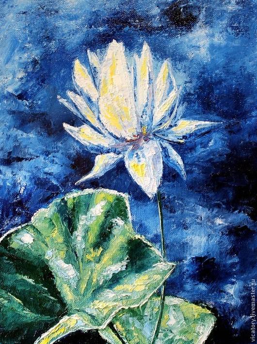 """Картины цветов ручной работы. Ярмарка Мастеров - ручная работа. Купить """"Светящийся лотос"""", картина масло. Handmade. Тёмно-синий"""