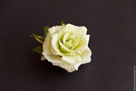 Броши ручной работы. Ярмарка Мастеров - ручная работа. Купить Брошь с нежной розой. Handmade. Салатовый, брошь, брошь с розой