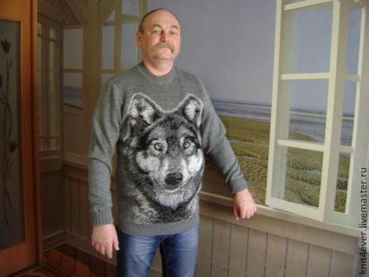 """Для мужчин, ручной работы. Ярмарка Мастеров - ручная работа. Купить Свитер """"Волк"""". Handmade. Серый, машинная вязка"""