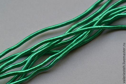 Для украшений ручной работы. Ярмарка Мастеров - ручная работа. Купить Винтажный шелковый жгут цвет Green. Handmade. Зеленый