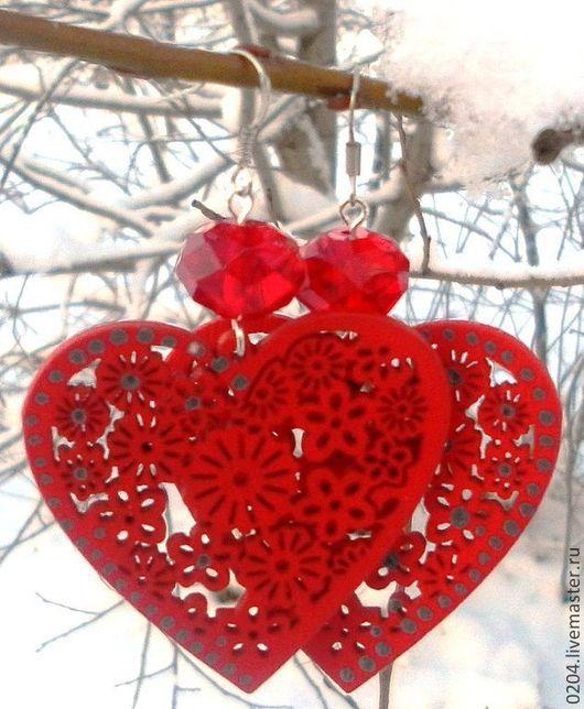Серьги ручной работы. Ярмарка Мастеров - ручная работа. Купить Серьги клипсы !Влюбленные сердца! Три вида: красные, черные, белые. Handmade.