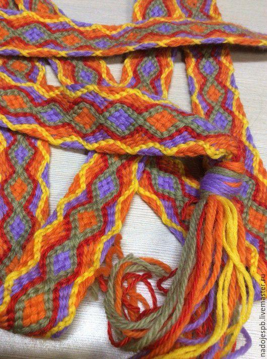 Ткачество ручной работы. Ярмарка Мастеров - ручная работа. Купить плетеный Псковский пояс (реплика по фото). Handmade. Комбинированный, шерсть