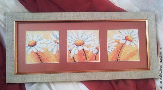"""Картины цветов ручной работы. Ярмарка Мастеров - ручная работа. Купить Вышитая картина """"Триптих с ромашками"""". Handmade. Вышивка крестом"""