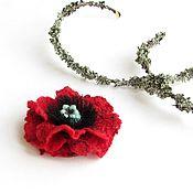 Украшения handmade. Livemaster - original item Felted brooch poppy. Handmade.