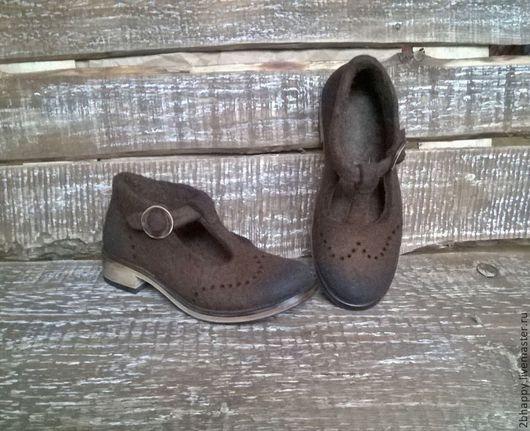 Обувь ручной работы. Ярмарка Мастеров - ручная работа. Купить Валяные туфли APRIL. Handmade. Коричневый, весна 2015
