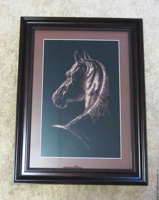 """Животные ручной работы. Ярмарка Мастеров - ручная работа. Купить """"Фаворит"""" Вышитая картина. Handmade. Конь, картина с животными, коричневый"""