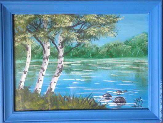 """Пейзаж ручной работы. Ярмарка Мастеров - ручная работа. Купить Картина """"У пруда"""". Handmade. Голубой, картина, картина на заказ"""