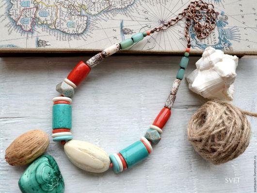 """Колье, бусы ручной работы. Ярмарка Мастеров - ручная работа. Купить Колье """"У тропических берегов"""". Handmade. Море, подарок"""
