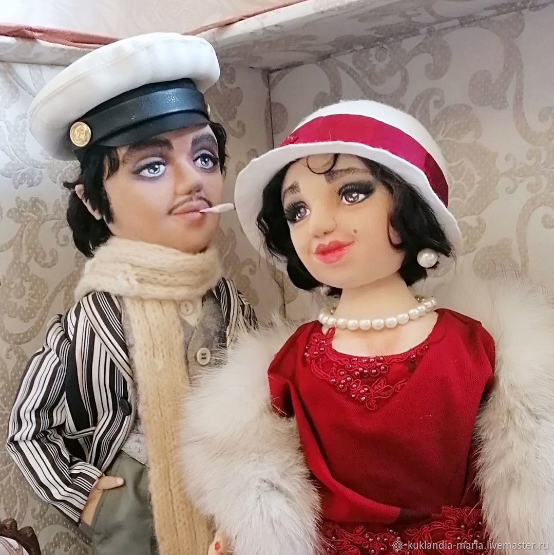 Остап Бендер и Мадам Грицацуева, текстильные, портретная куклы, Портретная кукла, Санкт-Петербург,  Фото №1