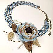Украшения handmade. Livemaster - original item Denim Etude. necklace and brooch flower.. Handmade.
