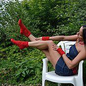 """Аксессуары ручной работы. Ярмарка Мастеров - ручная работа Носки и митенки вязаные  """"Красное яблоко"""". Handmade."""