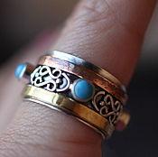 Украшения ручной работы. Ярмарка Мастеров - ручная работа 17.5 крутящееся с бирюзой  кольцо серебряное. Handmade.